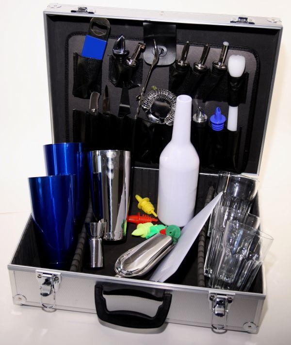 Barmanský kufr modrý metal