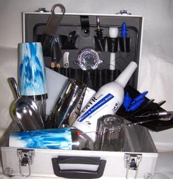 Barmanský kufr modrobílý vinylový