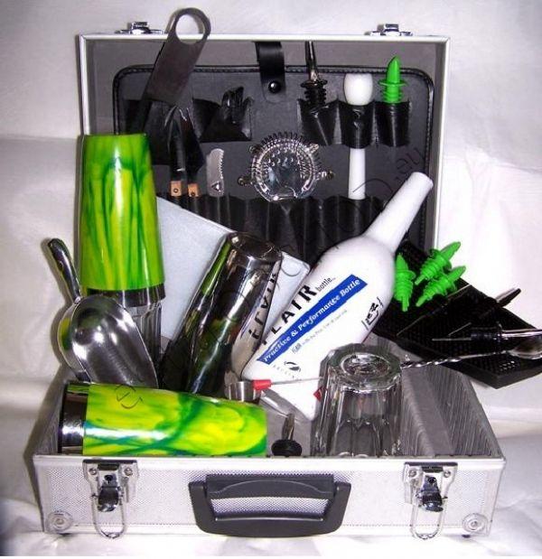 Barmanský kufr zelenožlutý vinylový